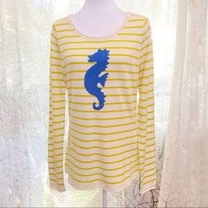 Tommy bahama seahorse cream yellow striped sweater